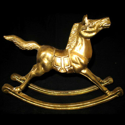 "11.5"" x 9.5"" VINTAGE SOLID BRASS Cast Casting HORSE 6-LBS Heavy Home Decor"
