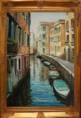 "Venice Buildings River Street Boat City Art oil painting on Canvas 24""x36"" V4"