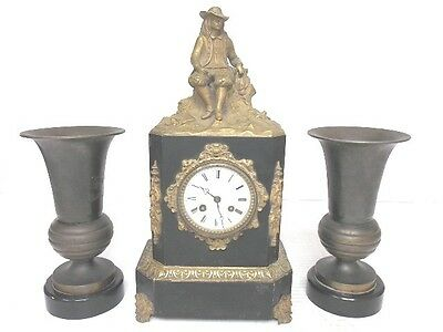 Antique French Victorian Mantel Clock W/ Bronze Or Brass Man