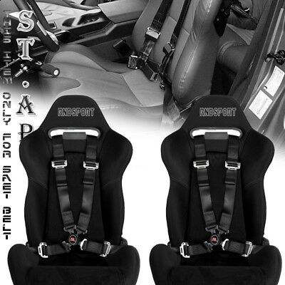 """Universal New 2X Tow 4 Point Safety Harness Camlock 2"""" Inch Strap Seat Belt Blk"""