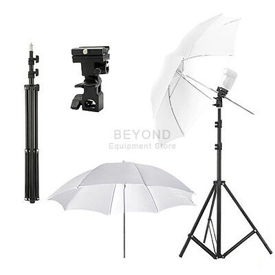 "Light Stand + 33"" Umbrella + Flash Holder Bracket Photo Studio Lighting Kit"