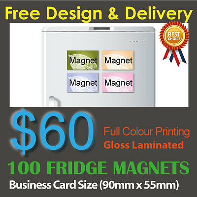 100 Business Card size fridge magnets full colour printing + Gloss laminated