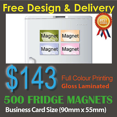 500 Business Card size fridge magnets (0.6mm) full colour + Gloss laminated