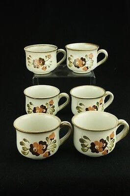Lot of 6 Denby Serenade Stoneware Older Version Pattern Coffee or Tea Cups