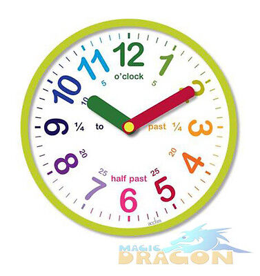 Childrens Analogue Teaching  Battery Wall Clock Educational Learning Time Acctim