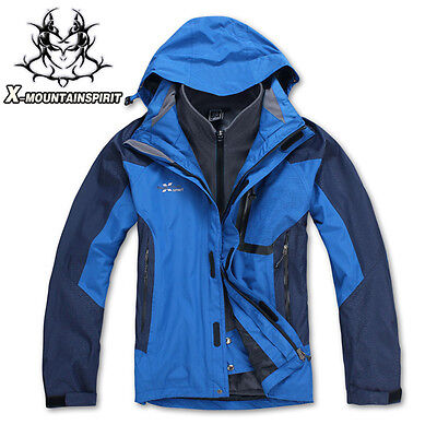 Hot Mens 3in1 Waterproof Hiking Travel Soft Shell Outdoor Jacket Windproof Coats