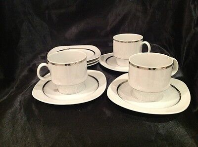 3 X Cup and 6 saucers- Arzberg White With Silver And Ribbed