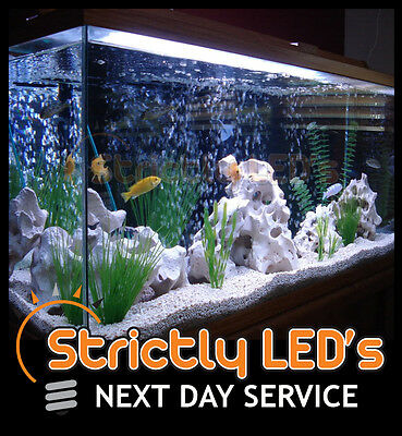 White LED Tube Bar Aquarium Fish Tank Lighting Strip Lights Submersible 50cm UK