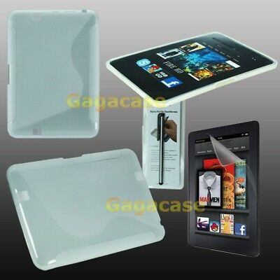 CL Amazon Kindle Fire HD 7 Inch TPU Gel Case Skin Cover +Screen Protector+Stylus