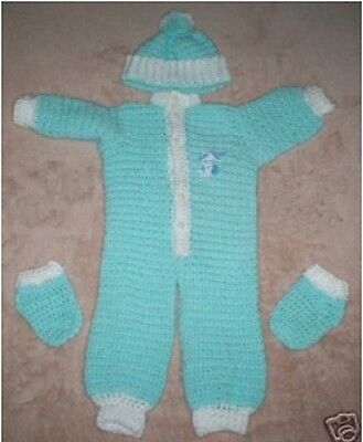 NEW Pale Green Crocheted Baby Coverall Outfit Set  *** HAND MADE ***