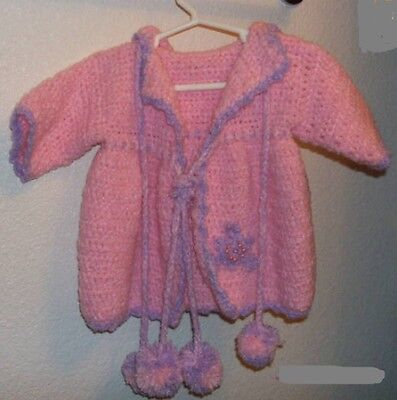 Boutique Rose Hooded Baby Crochet Sweater Coat *** HAND MADE ***