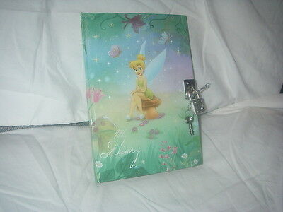 """DISNEY TINKERBELL CHARACTER HARDBOUND DIARY- JOURNAL WITH LOCK AND KEY 5"""" X 7"""""""
