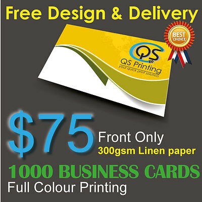 1000 Business Cards full colour Printing (Front Only) on 300gsm Linen paper