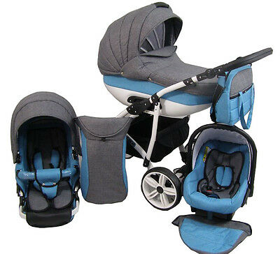 Pram CLEOIII  Leather Pushchair Stroller 3in1 Travel System Buggy Car Seat