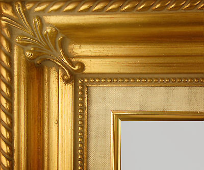"PICTURE FRAME WOOD GOLD LINEN ORNATE WEDDING PHOTO PORTRAIT ART 3.25"" WIDE"