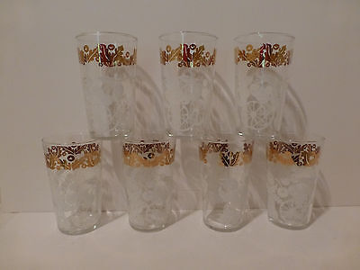 Vintage Federal Glass (7) Clear Glass Water Tumblers, Fruit Design Gold Trim (S3