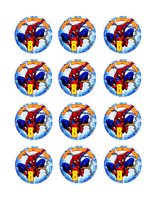 SPIDERMAN Edible CUPCAKE Decoration Toppers Icing Image Personalized