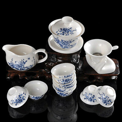 Peony Jade Porcelain Tea Set Suit Ceramic Kung Fu Teaset 14 Pcs free shipping