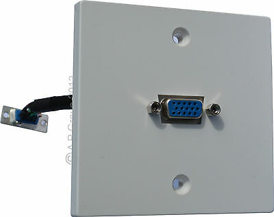SVGA Wall Mounted Faceplate with 15 pin D Sub 16.5cm Fly lead Vga easy Install