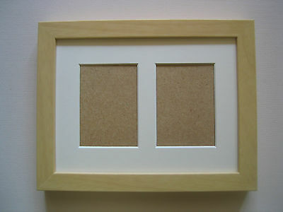Beech Double Aceo/School Picture Frame With 2 Holes,Ivory Mount