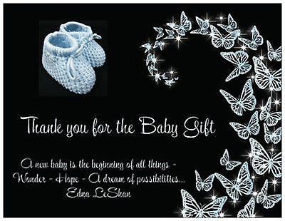 BABY BOY Blue DIAPER Shower Gift THANK YOU  Flat Cards Envelopes /& Seals