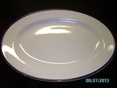 Johnson Bros England Oval Serving Platter Blue & Gold Trim 12.5 Inches