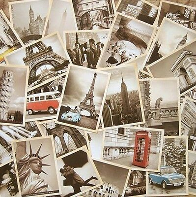 LOT 32 pcs Vintage Retro Old Travel Postcards Card Posters art deco Buildings