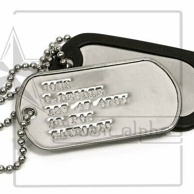 2X US Military Personalized Custom Stainless ID Dog Tag/Toe Tags Chain+Silencers