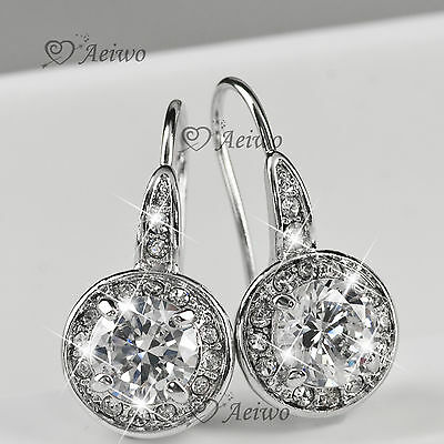 New Drop Earrings 9K Gf 9Ct White Gold Made With Swarovski Crystal Sparkling