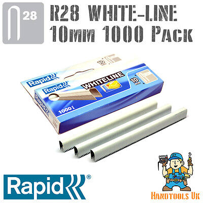 Cable Staples - Rapid R28 WHITELINE 10mm (White Coated)  Handy 1000 Pack