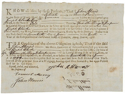 Colonial Currency, RI, June 20, 1793 Mortgage Bond