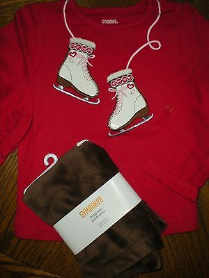 Gymboree NWT Girl 18-24 Ice Skate T- shirt with brown velour legging  outfit