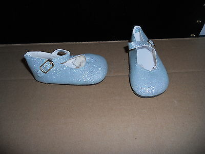 """98/50 Mm Blue Glitter Ankle Strap Shoes For 22"""" -23"""" My Twinn Doll"""