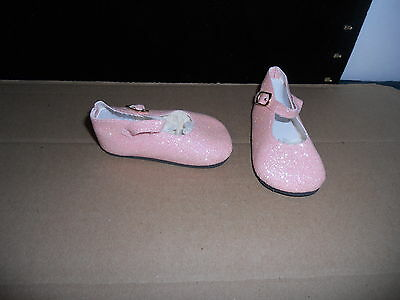 """98/50 Mm Pink Glitter Ankle Strap Shoes For 22"""" -23"""" My Twinn Doll"""