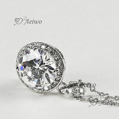 9K White Gold Filled Made With Swarovski Crystal Pendant Necklace 5Ct