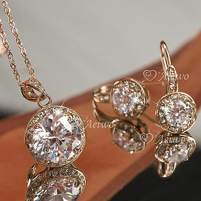 9K Gf Gold Made With Swarovski Crystal Necklace Stud Earrings Wedding Party Set