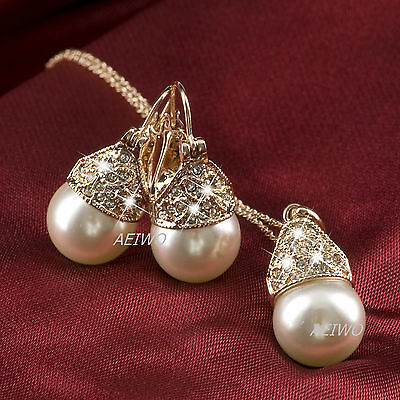 18K Gold Gf Crystal Pearl Heart Pattern Necklace Stud Earrings Set