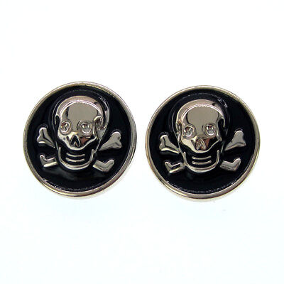 """20pcs 7/8"""" Black Gold Tone Skull Buttons Plastic Buttons Fit Sewing Craft 22mm"""
