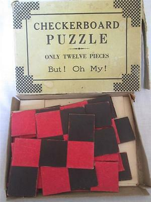 RARE 1930-1940s CHECKERBOARD PUZZLE ONLY TWELVE PIECES BUT! OH MY!