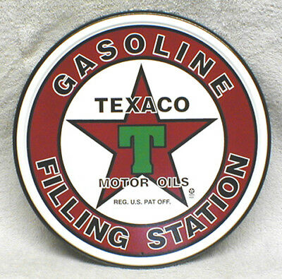 Classic Texaco Star Motor Oil - Gasoline Filling Station - Round Metal Sign, New