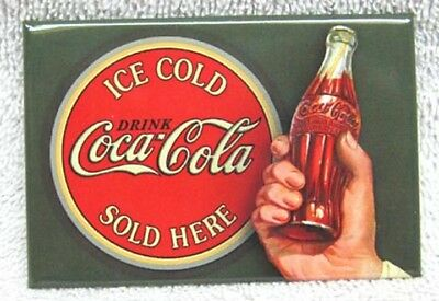 Coca-Cola - Coke Ice Cold Bullseye Design Metal Magnet, New!