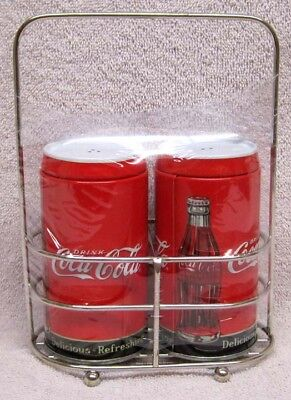 "Coca-Cola Salt And Pepper Tin Shakers With Holder, ""delicious - Refreshing"" New!"