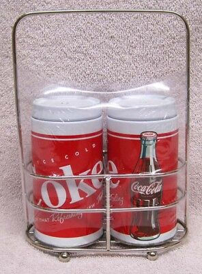 Coke  - Coca-Cola Salt & Pepper Tin Shakers With Metal Holder, New! L@@k!