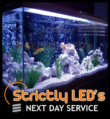 Blue LED Strips Aquarium Fish Tank Lighting Set Strip Lights Submersible 50cm UK