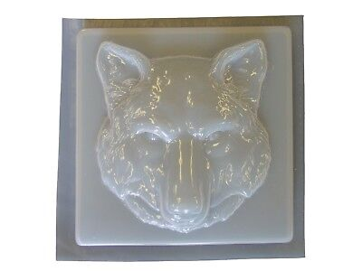 Wolf Head Square Concrete Cement Plaster Stepping Stone Mold 1282