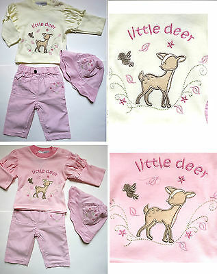 Fantastic Baby Girl Outfit 3 pc Set Top Trousers Hat Little Deer Pink 0-3-6-9 M
