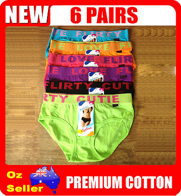 6 Pairs Mix Colour Women / Ladies Cotton Fashion Underwear Undies Briefs