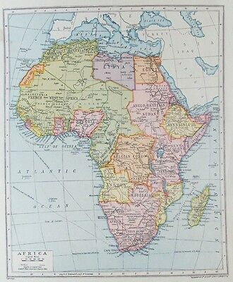 OLD ANTIQUE MAP AFRICA c1915 for GEOGRAPHIA PRINTED COLOUR