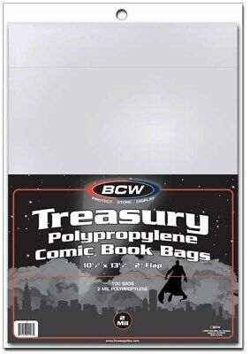 Lot of 300 BCW Archival 2-Mil Treasury Comic Book Poly Bags acid free sleeves