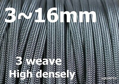 3~25mm Black Expandable Braided DENSE PET Sleeving Cable 3 weave High densely